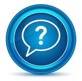 Botón redondo azul del globo del ojo del icono de la burbuja del signo de interrogación stock de ilustración