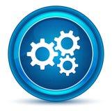 Botón redondo azul del globo del ojo del icono de los engranajes de los ajustes libre illustration