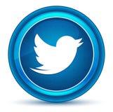 Botón redondo azul del globo del ojo del icono del pájaro del pío ilustración del vector