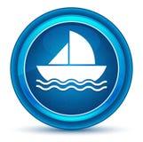 Botón redondo azul del globo del ojo del icono del velero stock de ilustración