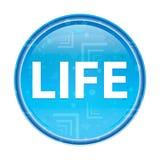 Botón redondo azul floral de la vida ilustración del vector