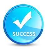 Botón redondo azul natural del chapoteo del éxito (valide el icono) stock de ilustración
