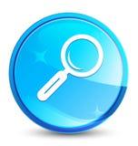 Botón redondo azul natural del chapoteo del icono de la lupa ilustración del vector