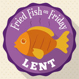 Botón redondo con Fried Fish Design para prestado, ejemplo del vector Foto de archivo