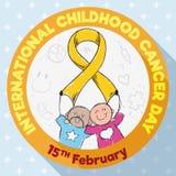 Botón redondo con los niños que conmemoran el día internacional del cáncer de la niñez, ejemplo del vector Imagen de archivo libre de regalías