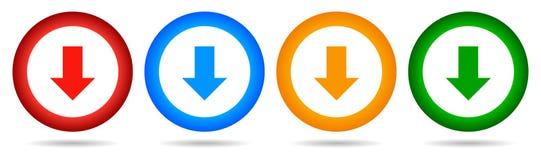 Botón redondo de la transferencia directa del vector de la flecha colores del icono cuatro abajo stock de ilustración