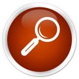 Botón redondo marrón superior del icono de la lupa libre illustration