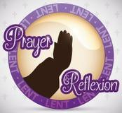 Botón redondo que promueve la reflexión y rezos en Lent Season, ejemplo del vector Fotos de archivo