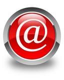 Botón redondo rojo brillante del icono de la dirección de correo electrónico Fotos de archivo