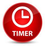 Botón redondo rojo elegante del contador de tiempo Foto de archivo libre de regalías