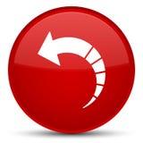 Botón redondo rojo especial del icono trasero de la flecha Fotografía de archivo