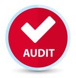 Botón redondo rojo primero plano de la auditoría (valide el icono) stock de ilustración