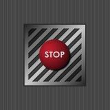 Botón rojo con la parada de la palabra Imagen de archivo