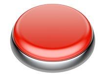 Botón rojo con los elementos metálicos Fotos de archivo