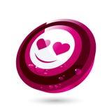 Botón rojo de la cara de la tarjeta del día de San Valentín Fotografía de archivo