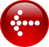 Botón rojo de la flecha Imagenes de archivo