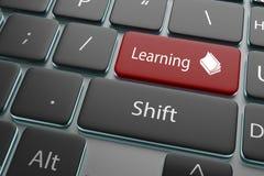 botón rojo del ejemplo 3d que aprende en el teclado Imagenes de archivo