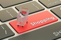 Botón rojo del teclado de las compras en línea, representación 3D stock de ilustración