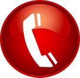 Botón rojo del teléfono Fotos de archivo libres de regalías