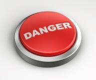 Botón rojo - peligro Imágenes de archivo libres de regalías