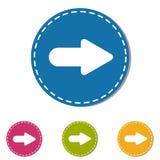 Botón siguiente del icono de la flecha - ejemplo colorido del vector - aislado en el fondo blanco Fotos de archivo