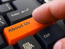 Botón sobre nosotros en el teclado negro Fotos de archivo