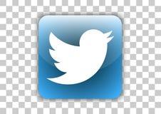 Botón social del icono de Twitter medios con símbolo dentro stock de ilustración