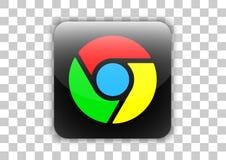 Botón social del icono del navegador de Google Chrome medios con símbolo dentro ilustración del vector