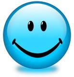 Botón sonriente azul de la cara stock de ilustración