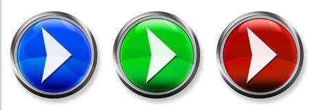 Botón tridimensional del RGB de la flecha derecha Fotos de archivo libres de regalías