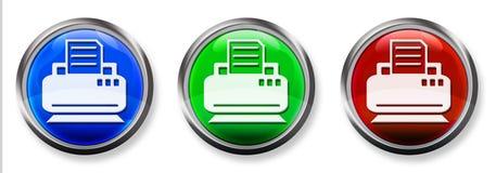 Botón tridimensional del RGB de la impresora y del fax Foto de archivo libre de regalías