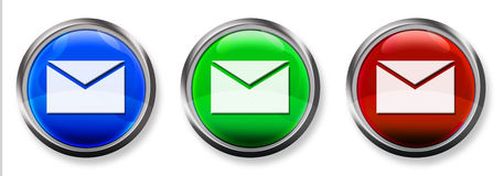 Botón tridimensional del RGB del email Imágenes de archivo libres de regalías