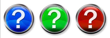 Botón tridimensional del RGB del signo de interrogación Fotografía de archivo libre de regalías