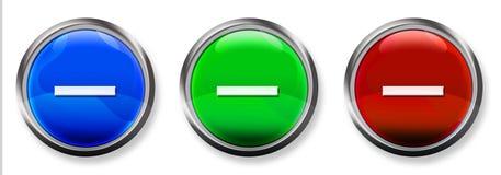 Botón tridimensional del RGB del signo de menos Foto de archivo