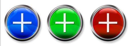 Botón tridimensional del RGB del signo más Imagenes de archivo
