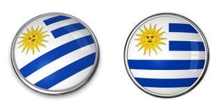Botón Uruguay de la bandera Imagenes de archivo