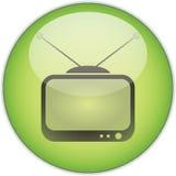 Botón verde de la TV Imagen de archivo libre de regalías
