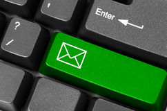Botón verde del correo electrónico Fotos de archivo