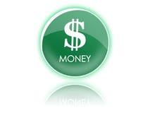 Botón verde del dólar Fotografía de archivo libre de regalías