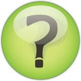 Botón verde del signo de interrogación Fotos de archivo
