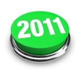 Botón verde redondo - 2011 Años Nuevos ilustración del vector