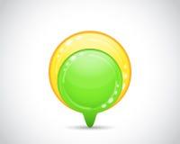 Botón verde y amarillo de la flecha Fotos de archivo libres de regalías
