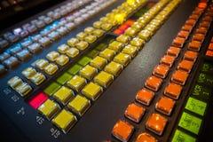 Botón video del mezclador Fotos de archivo
