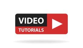 Botón video en línea de la educación de los tutoriales Concepto de la lección del juego Ilustración del vector stock de ilustración