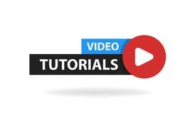 Botón video en línea de la educación de los tutoriales Concepto de la lección del juego Ilustración del vector libre illustration