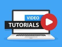 Botón video en línea de la educación de los tutoriales en pantalla de ordenador portátil del ordenador portátil Concepto de la le