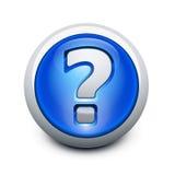 Botón vidrioso con el signo de interrogación Fotos de archivo libres de regalías