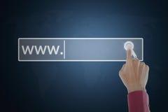 Botón virtual conmovedor de la búsqueda de la mano Imagen de archivo
