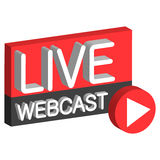 Botón vivo del webcast 3D Fotografía de archivo