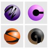 Botón y logotipo del alfabeto imagenes de archivo